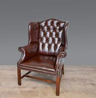 Leather Deep Buttoned Wing Chair c.1930 (2 of 5)