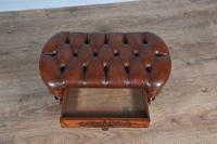 Victorian Walnut & Leather Buttoned Stool (5 of 6)