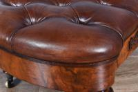 Victorian Walnut & Leather Buttoned Stool (6 of 6)