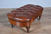 Victorian Walnut & Leather Buttoned Stool (2 of 6)