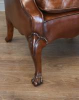 English Antique Leather & Buttoned Wing Armchair (4 of 5)