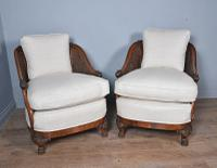 Antique Carved Walnut Bergere Suite Sofa Pair of Chairs (3 of 11)