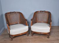 Antique Carved Walnut Bergere Suite Sofa Pair of Chairs (4 of 11)