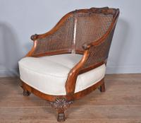 Antique Carved Walnut Bergere Suite Sofa Pair of Chairs (6 of 11)