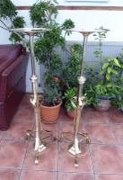 Pair of Victorian Brass Telescopic Torchiere Extends to 5 Foot Height (Free Shipping to Mainland England)