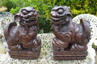 Pair of Chinese Hardwood Fu Temple Lions 1830