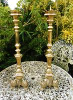 Large Pair of Brass Church Pricket Candlesticks (Free Shipping to Mainland England)
