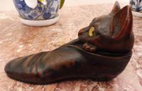 Carved Oak Cat Inkwell with Glass Eyes 8 Inch 1860 (Free Shipping to Mainland England) (5 of 9)