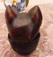 Carved Oak Cat Inkwell with Glass Eyes 8 Inch 1860 (Free Shipping to Mainland England) (2 of 9)