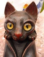 Carved Oak Cat Inkwell with Glass Eyes 8 Inch 1860 (Free Shipping to Mainland England) (8 of 9)