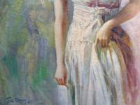 Oil on Canvas Portrait of a Young Girl Royal Academy Artist John Streven (Free Shipping to Mainland England) (4 of 9)