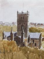 Watercolour & Ink St Davids Cathedral 1970s Listed Artist Ronald Birch (Free Shipping to Mainland England) (3 of 8)