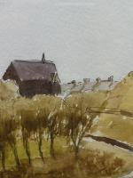 Watercolour & Ink St Davids Cathedral 1970s Listed Artist Ronald Birch (Free Shipping to Mainland England) (7 of 8)