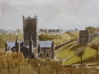 Watercolour & Ink St Davids Cathedral 1970s Listed Artist Ronald Birch (Free Shipping to Mainland England) (2 of 8)