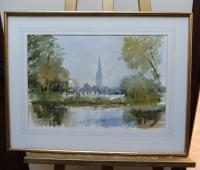 Watercolour Meadows Around Salisbury Cathedral Listed Artist John Powley Wapping Group of Artists (Free Shipping To Mainland England) (3 of 10)