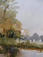 Watercolour Meadows Around Salisbury Cathedral Listed Artist John Powley Wapping Group of Artists (Free Shipping To Mainland England) (4 of 10)