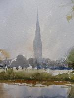 Watercolour Meadows Around Salisbury Cathedral Listed Artist John Powley Wapping Group of Artists (Free Shipping To Mainland England) (5 of 10)