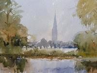 Watercolour Meadows Around Salisbury Cathedral Listed Artist John Powley Wapping Group of Artists (Free Shipping To Mainland England) (10 of 10)