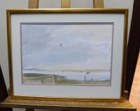 Watercolour the Orwell Looking from Pin Mill Listed Artist John Powley Wapping Group of Artists (Free Shipping to Mainland England) (3 of 10)