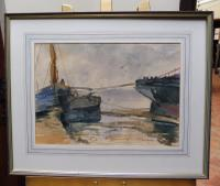 Watercolour Seascape Boats Listed Artist John Powley (Free Shipping to Mainland England) (3 of 10)