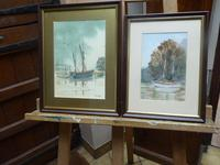 Two Watercolours Barge & Riverscape Exhibited Artist Renee Nash (Free Shipping to Mainland England)