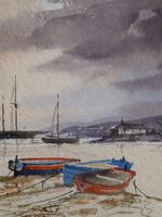 Watercolour Moored Craft Percuil Exhibited Artist Renee Nash (Free Shipping To Mainland England)