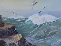 Watercolour Riding the Waves  Exhibited Artist Renee Nash (Free Shipping To Mainland England)