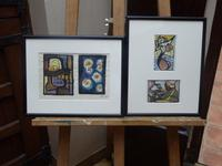 Pair of Watercolours 1950s Listed Artist Maria Rajecka (Free Shipping to Mainland England)
