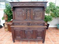 Rare Country  Oak Coffer on Coffer Court Cupboard 1690