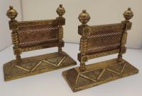 Pair of Victorian Arts & Crafts Brass Fire Dogs
