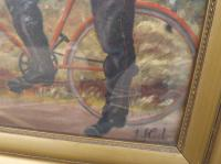 Gilt Framed Oil on Canvas Painting of a Postman by J.J. Cole (3 of 7)