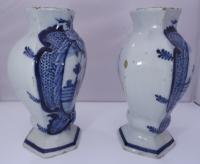 Pair of 19th Century Delft Pottery Blue & White Vases (2 of 8)