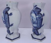 Pair of 19th Century Delft Pottery Blue & White Vases (4 of 8)