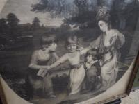 Framed C18th Engraving 'A Lady and Her Children' (2 of 10)