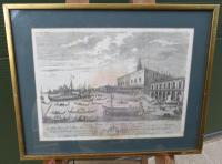 Framed Antique Venetian Engraving by Giampiccoli