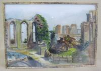 Pair of Antique Victorian Framed Paintings on Porcelain of Kenilworth Castle (2 of 6)