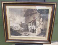 Large Framed Antique Engraving, the Fisherman's Departure by Ward After Corbould