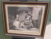Large Framed Antique Engraving 'The Fisherman's Return' by Ward after Corbould