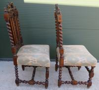 Pair of Victorian Carved Oak Hall Chairs (3 of 7)