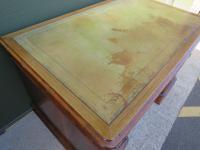 Victorian Leather-Topped Golden Oak Pedestal Desk (6 of 7)