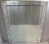 Art Deco Reverse Etched Glass Easel Mirror