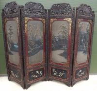 Vintage Carved & Painted Oriental Four-Fold Screen