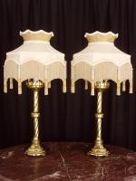 Pair of Brass Gothic Revival Table Lamps & Downton Abbey Shades