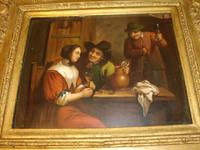 Early 19th Century Dutch Tavern Interior Genre Scene / Oil Painting on Copper