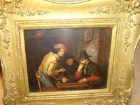 19th Century Dutch Tavern Interior Genre Scene / Oil Painting on Copper