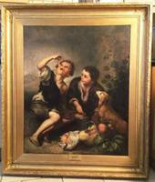 Early 19th Century the Pie Eaters After Bartolome Esteban Murillo (1617-1682) European School Oil Portrait Painting