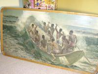 South Pacific Native Islanders Oil On Panel by Charles Cameron Baillie From Smokers Room RMS Queen Mary Liner (3 of 15)