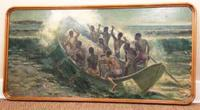South Pacific Native Islanders Oil On Panel by Charles Cameron Baillie From Smokers Room RMS Queen Mary Liner