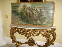 South Pacific Native Islanders Oil On Panel by Charles Cameron Baillie From Smokers Room RMS Queen Mary Liner (2 of 15)