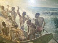 South Pacific Native Islanders Oil On Panel by Charles Cameron Baillie From Smokers Room RMS Queen Mary Liner (7 of 15)